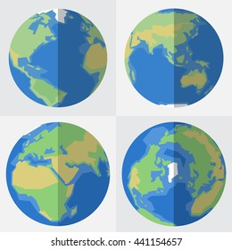 Set of vector globe icons in flat style