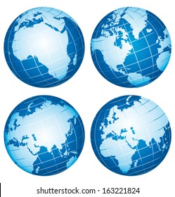 Set of vector globe icons showing Earth continents .