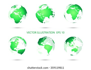 Set of vector globe icons showing earth with all continents.Vector illustration.