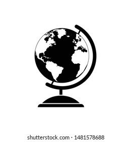 Set of  vector globe illustrations with world map and a wireframe globe