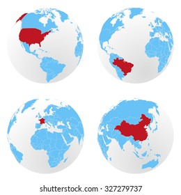 Set of vector globes with countries borders