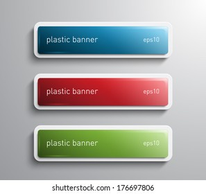 Set of vector glossy banners with plastic style for business design, infographics, reports, number options, progress, step presentation, workflow layout. Clean and modern style design
