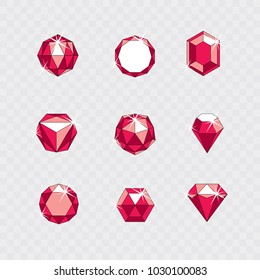Set of vector glossy red ruby gems illustrations. Creative business logo.