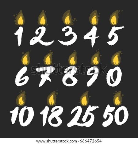 Set Of Vector Glowing Birthday Candles Hand Written Calligraphy Numbers White On Black Background
