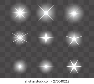Set of Vector glowing light effect stars bursts with sparkles. Shine star glitters. vector illustration