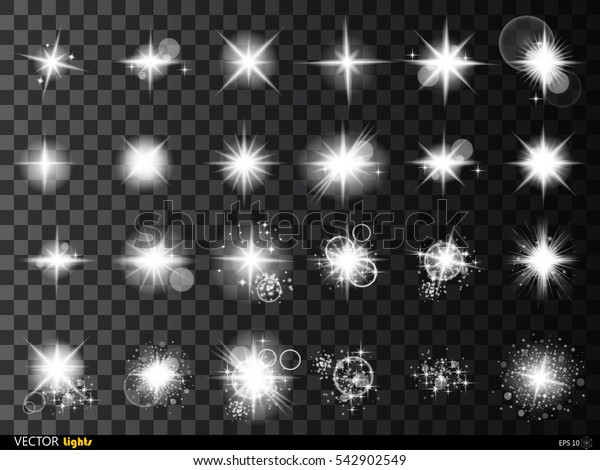 Set of Vector glowing light effect stars bursts with sparkles on transparent background