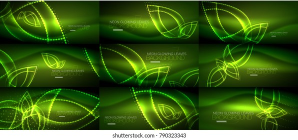 Set of vector glowing neon light leaves abstract background designs