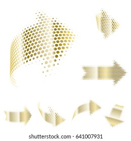 Set of vector gold arrow icons. Dotted halftone graphic effect. Abstract 3d symbols on white background.