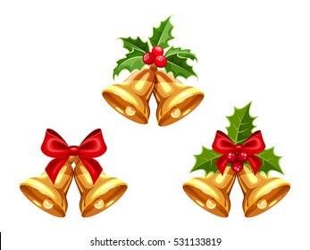 Set of vector gold Christmas bells with bows and holly isolated on a white background.