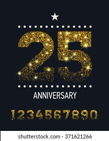 Set of vector gold glittered numbers fading top to bottom for anniversary party celebration. Jubilee birthday festive concept design card with large glittering gold sparkles numeric symbols or digits