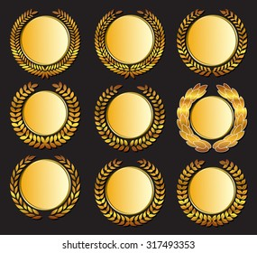 Set Vector gold medal and laurels on dark background.  Design element for construction of medals, awards, coat of arms or anniversary logo.