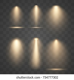 Set vector golden spotlights. Scene light effects.