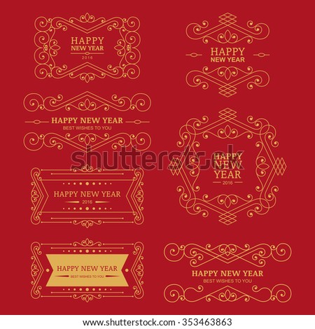 set of vector golden vintage new year badges labels and design elements for greeting cards