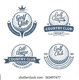 Set of vector golf country club logo