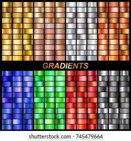 set of vector gradients collection.Collection metallic golden,rose gold, silver, steel, bronze, emerald, ruby, sapphire gradients background texture