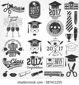 Set of Vector graduates Class of 2017 badges and design elements. Concept for shirt, print, seal, overlay or stamp, greeting, graduations  invitation card.Graduation design with hut and text Class of.