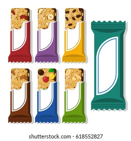 Set of vector granola bars in different packaging. Flat styled food illustration. Healthy lifestyle concept. Superfood.