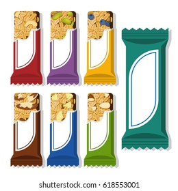Set Of Vector Granola Bars In Different Packaging Flat Styled Food Illustration Healthy Lifestyle