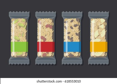 Set of vector granola bars in transparent packaging. Flat styled food illustration. Healthy lifestyle concept. Superfood.