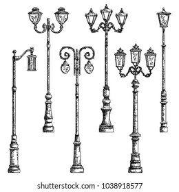 Set vector graphic arts sketch of drawing vintage artistic decorative lamppost (black pen).