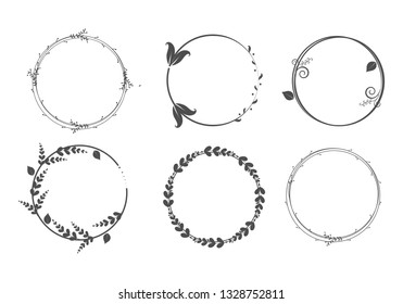 Set of vector graphic circle frames. Wreaths for design, logo template
