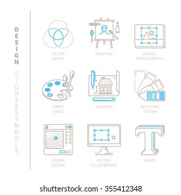 Set of vector graphic design icons and concepts in mono thin line style