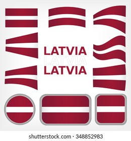 Set of vector graphic flags and symbols  Latvia