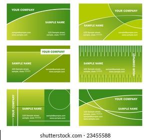 set of vector green business card - horizontal orientation