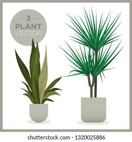 set of vector green plants illustrations