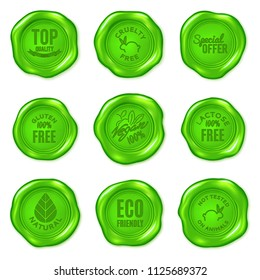 Set of vector green wax seals isolated on white. Vegan food, cruelty free, organic product, eco friendly, top quality