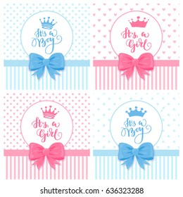 A set of vector greeting cards with hand drawn crown. Baby shower cards with a bow. Baby announcement card design element. It's a boy lettering. It's a girl lettering.