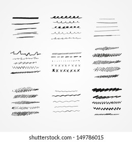 Set of vector grunge brushes. Abstract hand drawn ink strokes