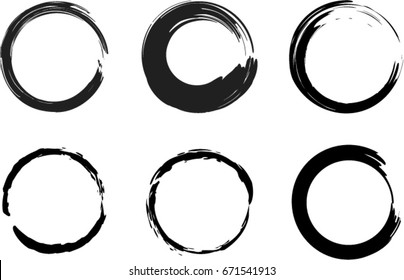 Set of vector grunge circle brush strokes, frames and design elements