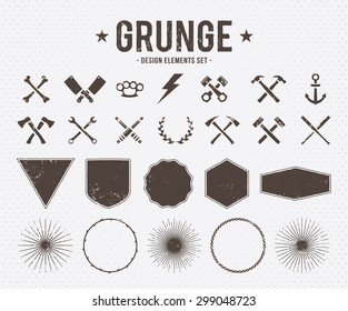 Set of vector grunge design elements: tools, shapes, signs and symbols.
