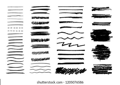 Set of vector grungy graphite pencil art brushes. Pencil textures of different shapes. Easy edit color and apply to any path, write and draw. EPS 10