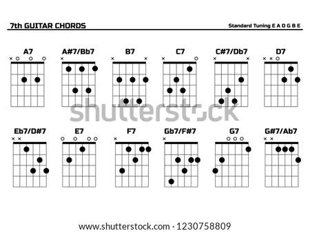 Enjoyable Set Vector Guitar 7Th Chords Chord Stock Vector Royalty Free Wiring Digital Resources Llinedefiancerspsorg