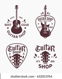 Set of vector guitar shop logo.