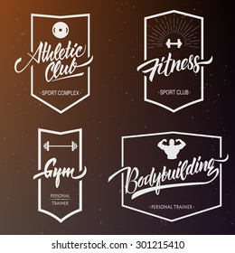 Set vector gym hand lettering logotype & emblems on blurred background. Typography hand drawing elements.