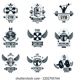 Set of vector gym theme emblems and motivational banners composed with dumbbells, barbells, kettle bells sport equipment and bodybuilder body shapes.