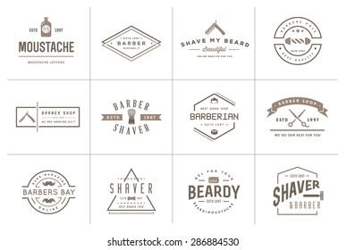 Set of Vector Hairdresser Barber Shop Elements and Shave Shop Icons Illustration can be used as Logo or Icon in premium quality