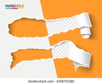 Set of vector half empty curled torn paper pieces into a scroll with rip edges of hole and shadows on a halfed transparent background for sale promo bright banner revealing some message.