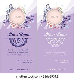 Set of Vector Half Ornament Frame. Background of color of a lavender with frame for photo. Grouped for easy editing. Perfect for invitations or announcements.