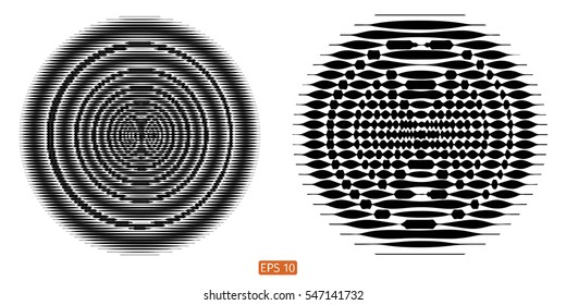 Set Vector halftone background. Concentric circles. Spiral, Line