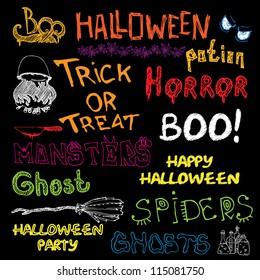 Set of Vector Halloween Hand Draw Design Elements
