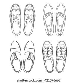 Set of vector hand drawing illustration with men fashion shoes.Doodle illustration