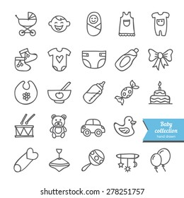Set of vector hand drawn baby icons: clothes, toys, food