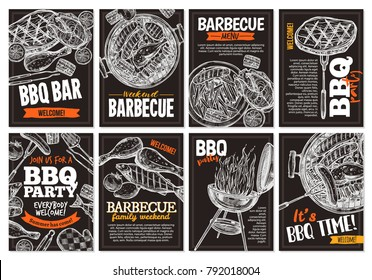 Set of vector hand drawn barbecue posters with grilled food, sausages, chicken, french fries, steaks, fish, BBQ bar and party welcome. Collection trendy sketch cards with typographic on the chalkboard