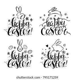 Set of vector hand drawn bunny, flowers and eggs. Handwritten inscription Happy Easter. Black and white. Doodle sketch. Brush lettering. Modern calligraphy.