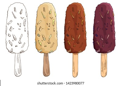 Set of vector hand drawn chocolate chip ice cream. Eskimo pie isolated on white background. Colored and Contour Images. Ice lolly. Chocolate-coated ice cream with nuts, caramel, waffles, cornflakes