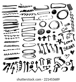 Set of vector hand drawn correction elements. Pencil technique. Arrows, underlines, circles and highlighting elements. Signs isolated on white background. Vector illustration.
